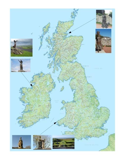 "British Isles Statues ""She Waits"" Rosses Point, Ireland ""Pictish Princess"" Portmahomack, Scotland ""Music"" ""The Song"" St. David's, Wales"